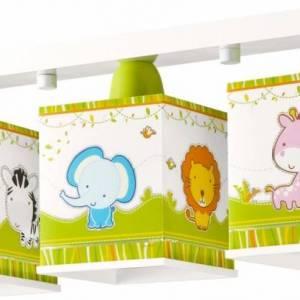 Dalber plafondlamp 3 lamps Little Zoo 51 cm wit/groen