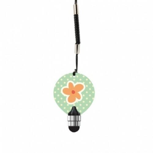 Dresz stylus touchscreen Flower 4 cm groen/roze