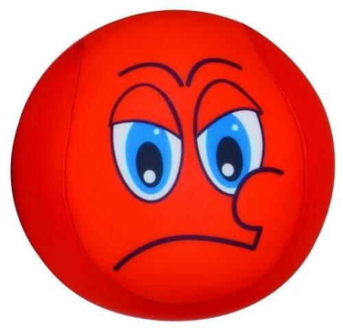 Eddy Toys bal met smiley pluche rood 15 cm