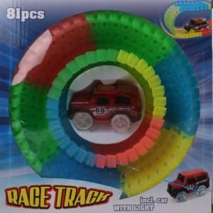 Free and Easy Glow in the dark racebaan met auto rood