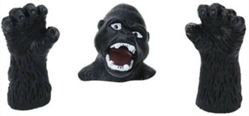 Free and Easy vingerpop Wildlife gorilla 5 cm zwart 3 delig