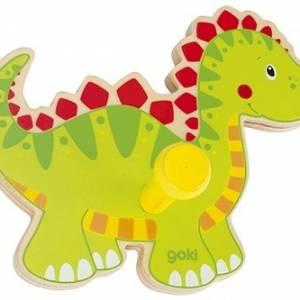 Goki kapstok dinosaurus hout 10 x 13 x 5 cm
