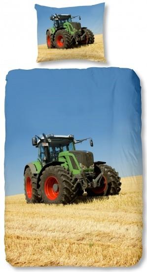 Good Morning dekbedovertrek tractor 140 x 200 cm groen