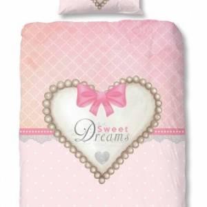 Good Morning dekbedovertrek Heart 135 x 200 cm roze