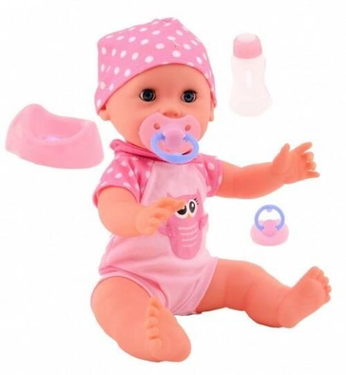 Johntoy baby Rose drink en plaspop 35cm roze