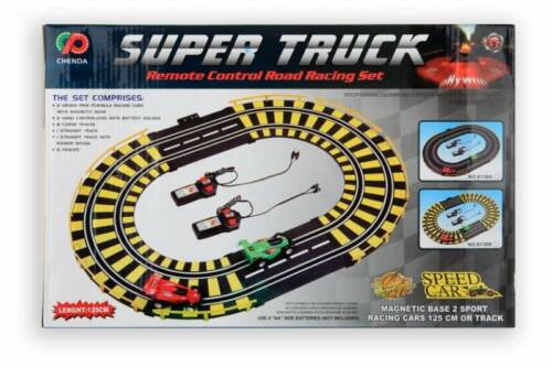 Jonotoys racebaan Supertruck met 2 auto's 125 cm 22 delig