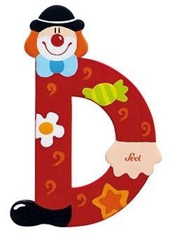 Sevi Letter D Clown 10 cm rood