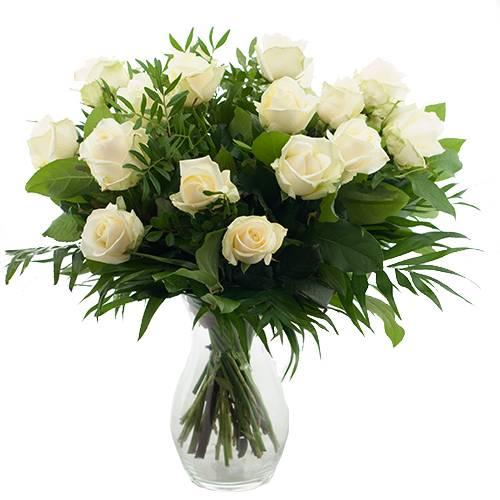 Sympathie boeket witte rozen