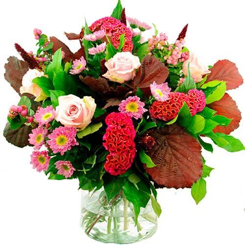 Najaarsboeket in roze-bordeaux tinten