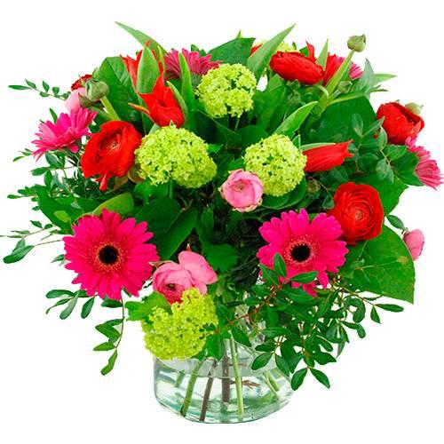 Voorjaarsboeket rood roze en lila