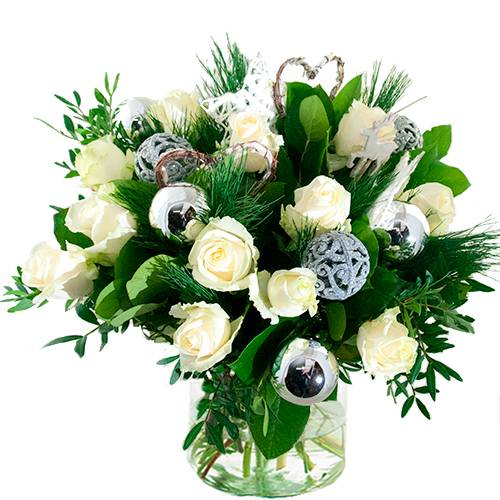 Kerstboeket witte rozen