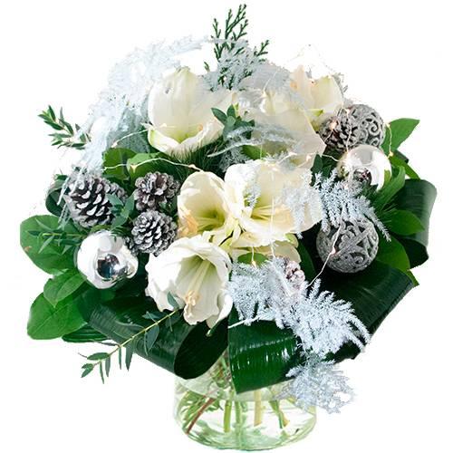 Kerstboeket witte amaryllis met ledlampjes