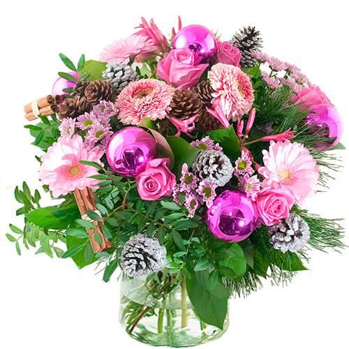 Kerstboeket lila/ roze
