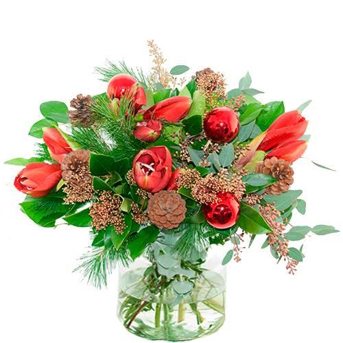 Kerstboeket rode amaryllis