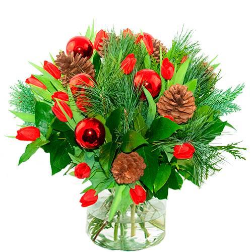 Kerstboeket rode tulpen