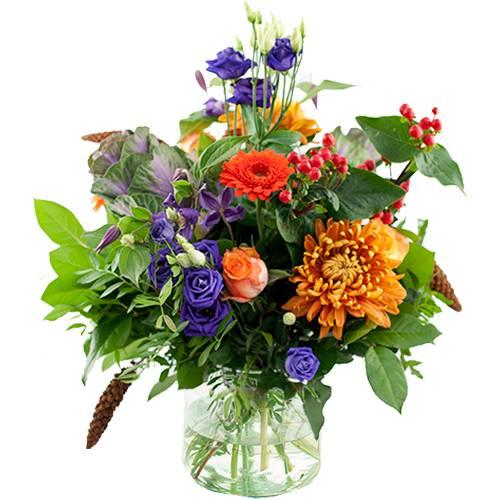 Seizoensboeket oranje lila/paars