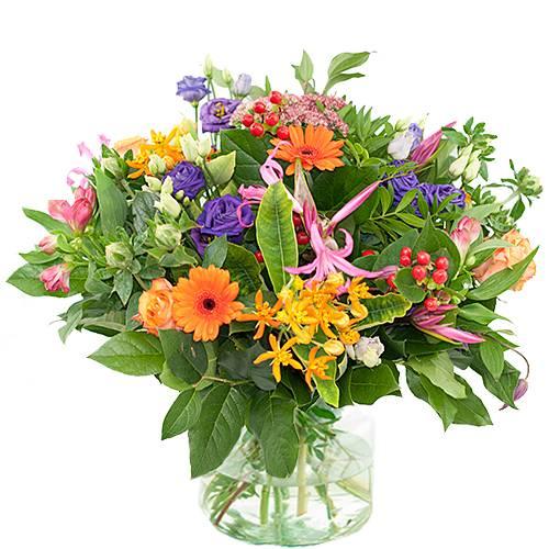 Najaarsboeket oranje/roze/paars
