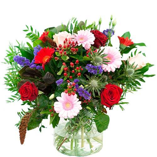 Najaarsboeket rood/roze/paars