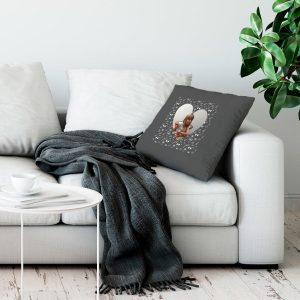 Hét perfecte Cadeau -  Liefdeskussen bedrukken – Donkergrijs – 50x60cm