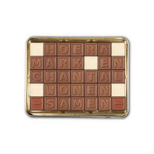 Hét perfecte Cadeau -  Chocotelegram met persoonlijke boodschap in cadeaublik – 35 letters