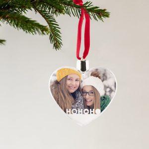Hét perfecte Cadeau -  Transparante kersthanger bedrukken – Hart (2 stuks)