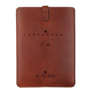 Hét perfecte Cadeau -  Leren iPad hoes met naam – iPad Mini (Bruin)