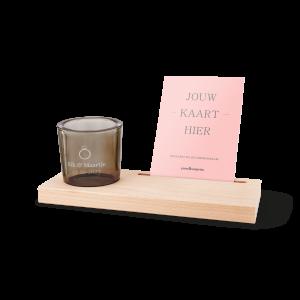 Hét perfecte Cadeau -  Gegraveerd glazen theelicht met houten kaarthouder