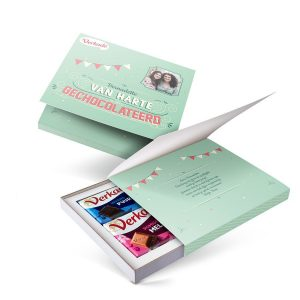 Hét perfecte Cadeau -  Verkade giftbox bedrukken – Van harte gechocolateerd (2 repen)