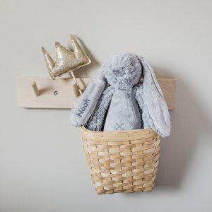 Hét perfecte Cadeau -  Happy Horse konijn met naam – grijs