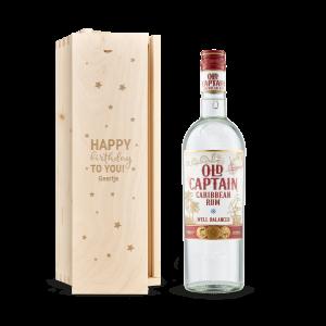 Hét perfecte Cadeau -  Rum in gegraveerde kist – Old Captain (wit)