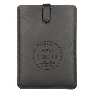 Hét perfecte Cadeau -  Leren iPad hoes met naam – iPad Mini (Zwart)
