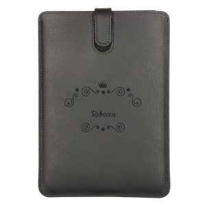 Hét perfecte Cadeau -  Leren iPad hoes met naam – iPad Mini 3 (Zwart)